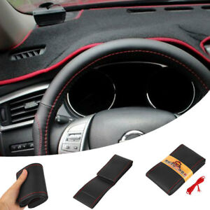 Black Red Pu Leather Diy Car Steering Wheel Cover 38cm With Needles And Thread