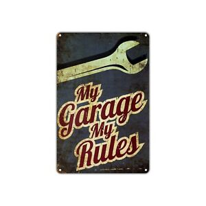 My Garage My Rules Vintage Retro Metal Sign Decor Art Shop Man Cave Bar