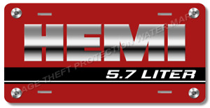 Hemi Novelty Vanity Car Auto Truck License Plate Tag Gift Red Gloss Silver Text