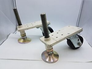Leveling Foot Pad Swivel Caster Steel Plate Industrial Machine Mount Set Combo