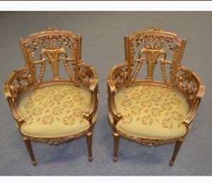 Rare Carved Gold Gilded Wood French Salon Arm Chair