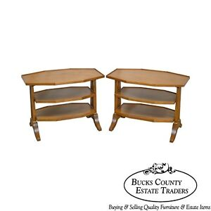 Henredon Regency Directoire Style Pair Of Vintage Fruitwood 3 Tier Side Tables