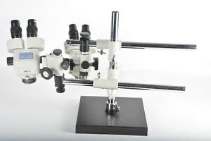 Meiji Emz 5 Dual Microscope With Boom Stand And Light Rings