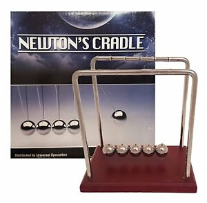 Classic Newtons Cradle Extra Large 7 1 4 Inch Dark Brown Wooden Base Balance