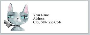 Personalized Address Labels Abstract Grey Cat Buy 3 Get 1 Free bx 203
