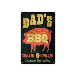 Dad s World Famous Bbq Vintage Retro Metal Sign Decor Wall Art Shop Man Cave Bar