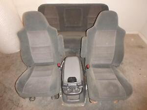1999 2007 Ford F250 F350 Superduty Grey Cloth Front Seat Rear Seat Set Console