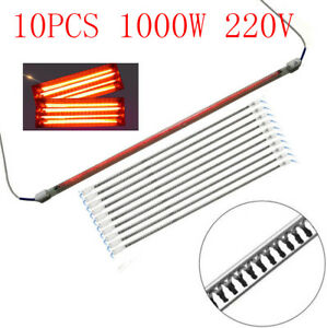 10 X 1000w 220v Autos Spray Baking Booth Ir Paint Curing Heating Lamp Tubes 60cm