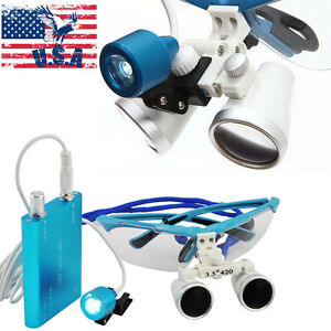 Usa Blue Dental Glasses Binocular Loupes 3 5 X Lens Head Light Lamp Battery Kit