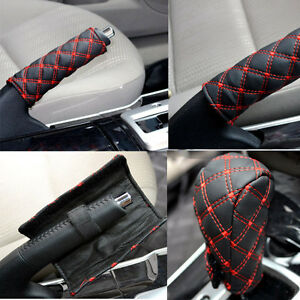 2 Pcs Car Hand Brake Leather Case Gear Shift Case Interior Accessories Hi