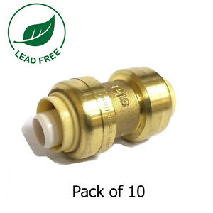 3 4 X 3 4 Sharkbite Style Push Fit Coupling Fittings Lead Free Brass 10 Pieces