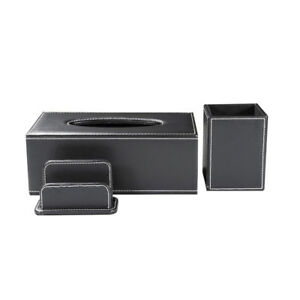 Office Supplies Desk Set Includes Tissue Box Pen Holder Business Card Holder