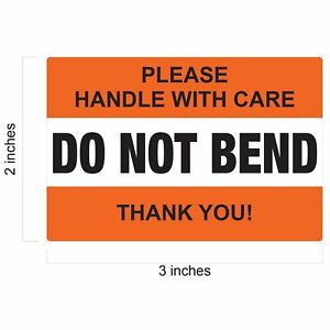 Do Not Bend Handle With Care Label Stickers 2 x 3 Waterproof Orange