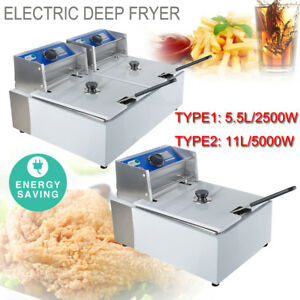 Commercial Electric Deep Fryer Tabletop Restaurant Frying Basket Scoop 5 5l 11l