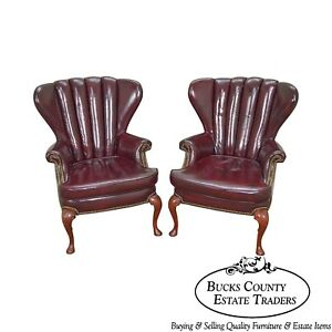 Old Hickory Tannery Pair Of Oxblood Leather Channel Back Wing Chairs