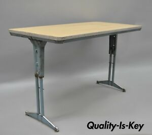 Vtg Industrial Steel Metal Laminate Work Table Writing Desk By American Seating