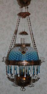 Victorian Parker Hanging Parlor Or Library Kerosene Oil Lamp Very Rare Shade