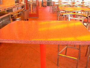 Patio Tables Fiberglass Tops With Heavy Duty Cast Iron Bases