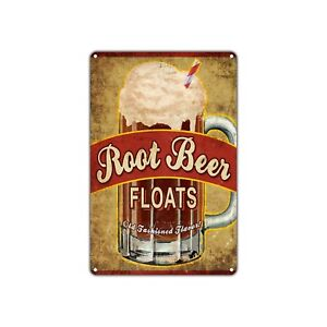 Root Beer Floats Vintage Retro Metal Sign Decor Art Shop Man Cave Bar