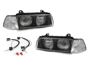 Depo Glass Lens Projector Euro Headlight clear Corner Light For Bmw E36 2d Coupe