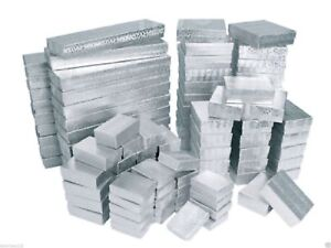 Cotton Filled Jewelry Gift Boxes Lot Of 100 Mixed Sizes See Details Silver