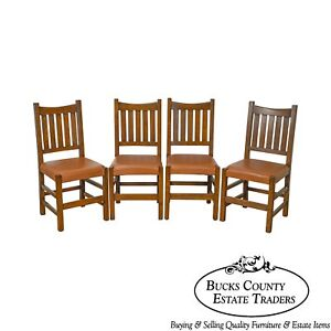 Mission Oak Stickley Style Set Of 4 Custom Dining Chairs