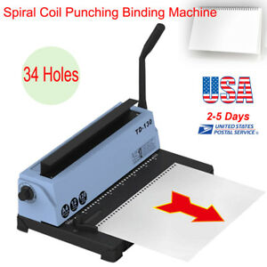 34 Holes Spiral Coil Calendar Binding Machine Punching Binding 120pages Capacity