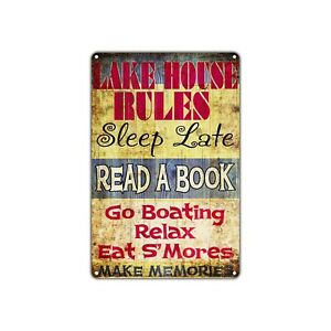 Lake House Rules Sleep Late Decor Art Shop Man Cave Bar Vintage Retro Metal Sign