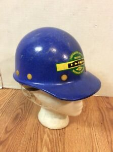 Vtg Rare Dow Chemical Michigan Division Fibre Metal Hard Hat Blue Fiberglass