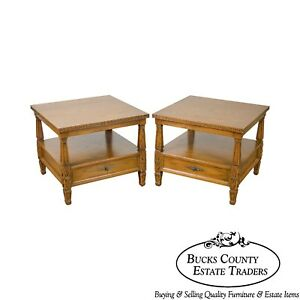 Romweber Viking Oak Pair Of Carved Square 2 Tier 1 Drawer Side Tables