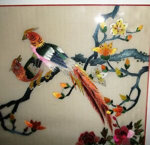 Vintage Chinese Silk Embroidery No Painting Woven Art Hand Stitched Bird Phoenix