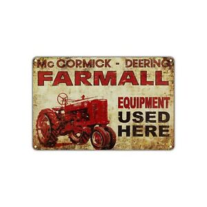 Farmall Equipment Used Here Vintage Retro Metal Sign Decor Art Shop Man Cave Bar