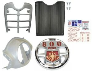 Front Grill Nose Cone Chrome Emblem And Decal Set Ford 800 Series Tractor