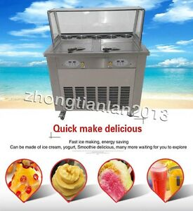 Two Pans Fry Ice Cream Roll Machine Fried Ice Cream Maker Temperature Control