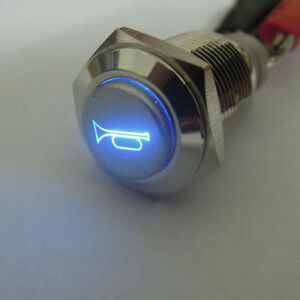 16mm 12v Blue Led Momentary Push Button Metal Switch Car Boat Bell Horn Hi