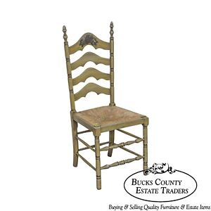 Cape Ann Vintage Green Painted Rush Seat Ladder Back Side Chair