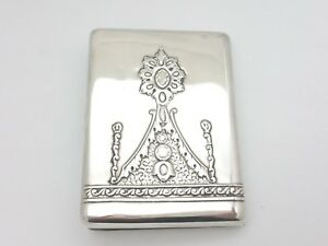 Russian 840 Silver Sterling Green Jade Port Cigar Gilted Cigarette Holder Case