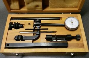 Baker Universal Dial Test Indicator Set 0 001 0 10 Type A52 With Wood Case