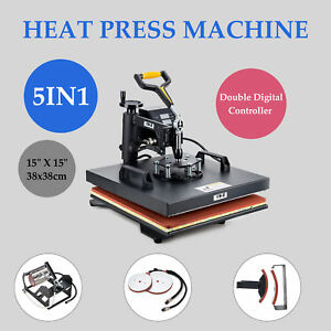 5 In 1 15 X 15 T Shirt Heat Press Machine For Mug Hat Plate Cap Mouse Pad