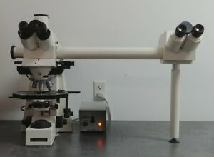 Zeiss Microscope Axioplan Fluorescence With Side By Side Bridge