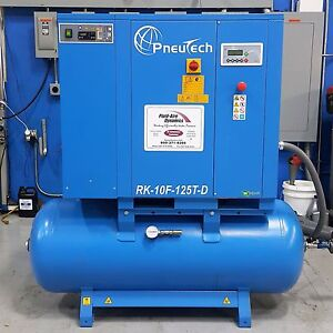 Used Pneutech 20 Hp Rotary Screw Air Compressor With Integrated Dryer Very Quiet