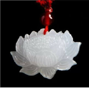 100 Natural Hand Carved Chinese Hetian Jade Pendant Lotus Flower
