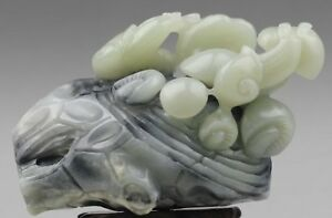 Chinese Old Natural Hetian Jade Hand Carved Snail And Flower Statue 4 5 Inch