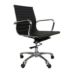 Ribbed Management Office Chair Mid Low Back Eames Style Aluminum Group Desk