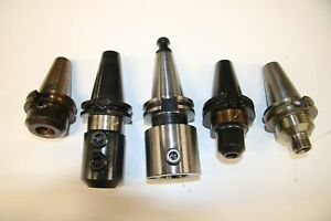 5 Used Mixed Lot Of Cat 40 Tool Holder 17364