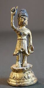 Very Rare Korean Joseon Dynasty Real Gold Filled Gilt Bronze Standing Buddha