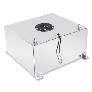 15 Gallon Race Drift Polished Aluminum Fuel Cell Tank With Level Sender White