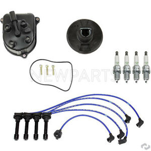 For Distributor Cap Rotor 4 Spark Plugs Spark Plug Wire Set For Honda Accord