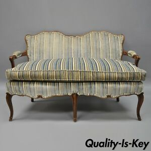 Vintage French Country Louis Xv Provincial Style Small Settee Loveseat Wood Sofa