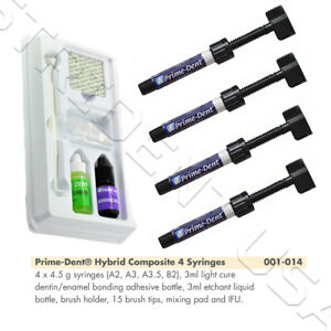 Prime Dent Light Cure Hybrid Composite Kit A2 a3 a3 5 b2 With Bonding 001 014